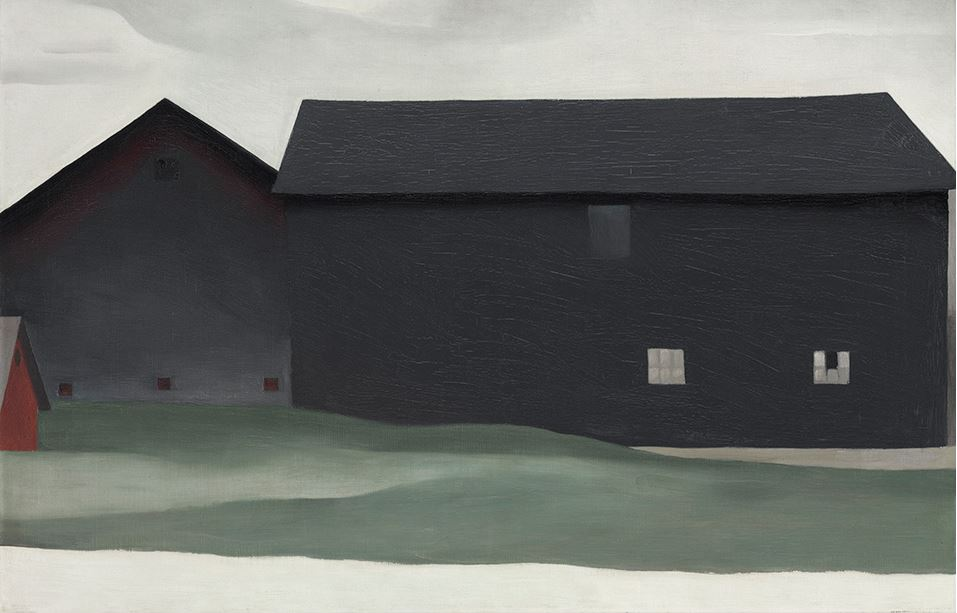 Georgia O'Keeffe, 'The Barns, Lake George,' 1926, oil on canvas, 21 x 32 14 in. (53.3 x 81.9 cm.). Photo courtesy the Georgia O'Keeffe Museum.  © 2016 Christie's Images Limited