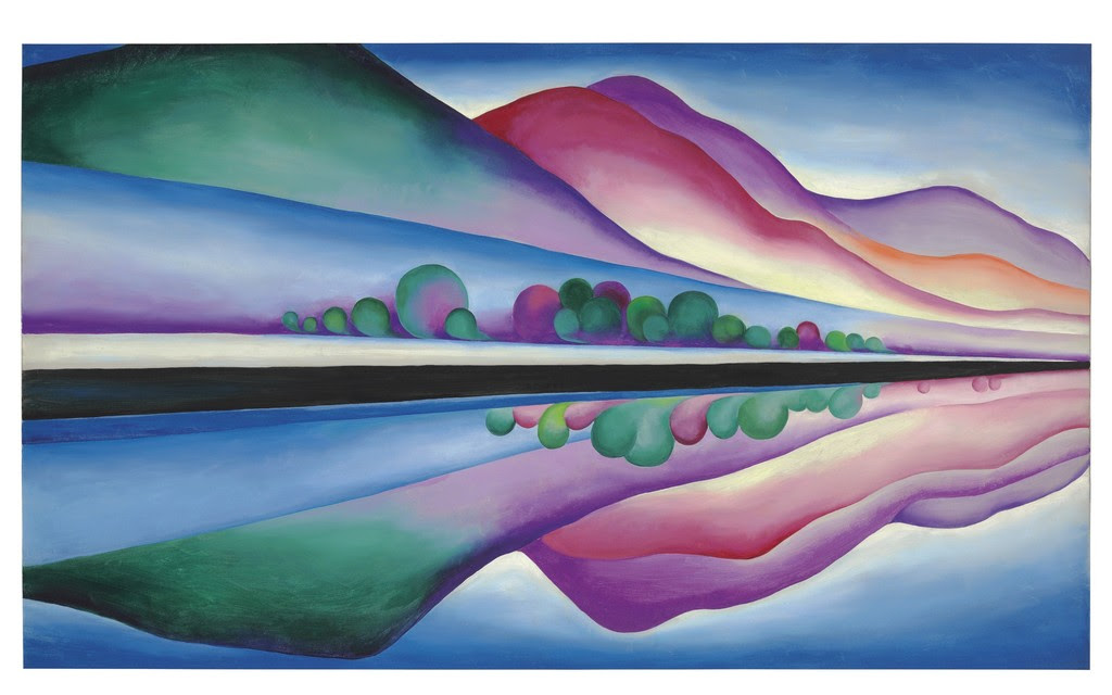 Property from the Collection of J.E. Safra, Georgia O'Keeffe (1887-1986), 'Lake George Reflection,' oil on canvas, 58 x 34 in. Painted circa 1921-22. Price realized: $12,933,000. Christie's Images Ltd.