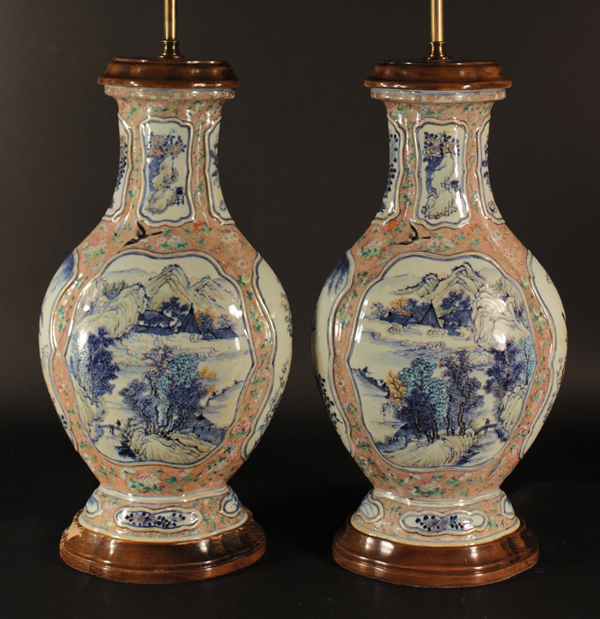 Pair of large, 19th-century Chinese bottle-shape, enamel-decorated porcelain vases later converted to lamps, est. $8,000-$12,000