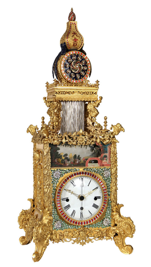 This rare Chinese automaton triple fusee bracket clock sold for $929,000, the highest single lot sale in Clars' history. Clars Auction Gallery image
