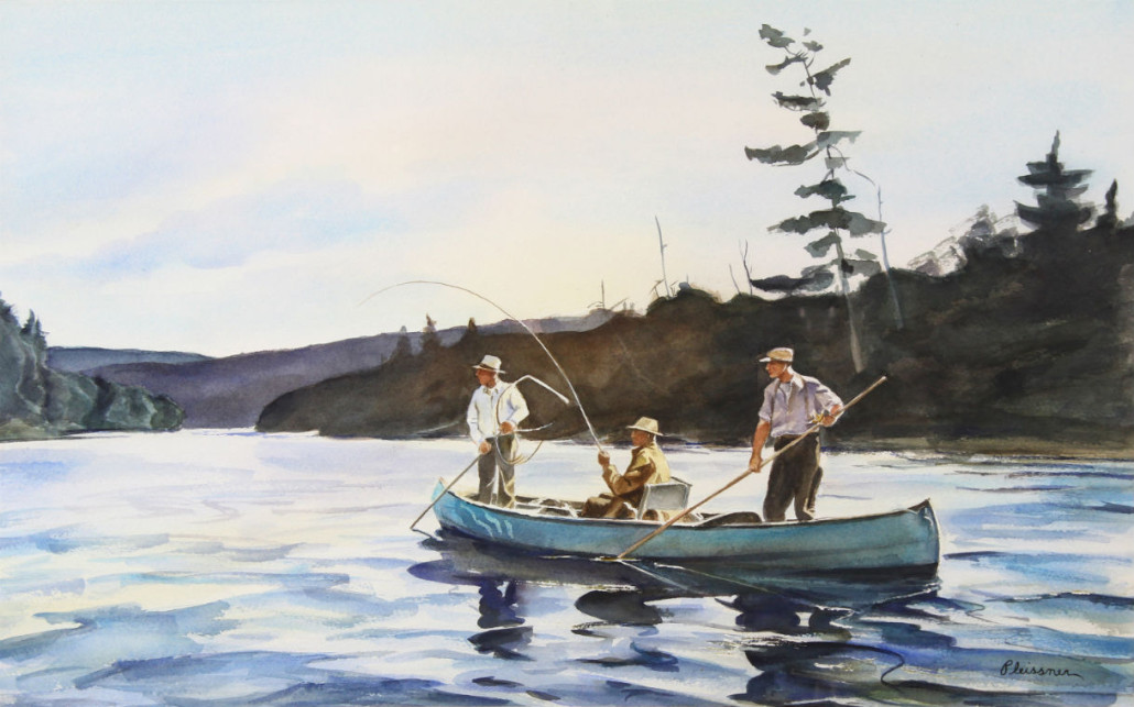 Selling for well over high estimate was this watercolor titled 'Fishing in a Canoe' by Ogden Minton Pleissner (American, 1905-1983), which brought $15,730. Clars Auction Gallery image