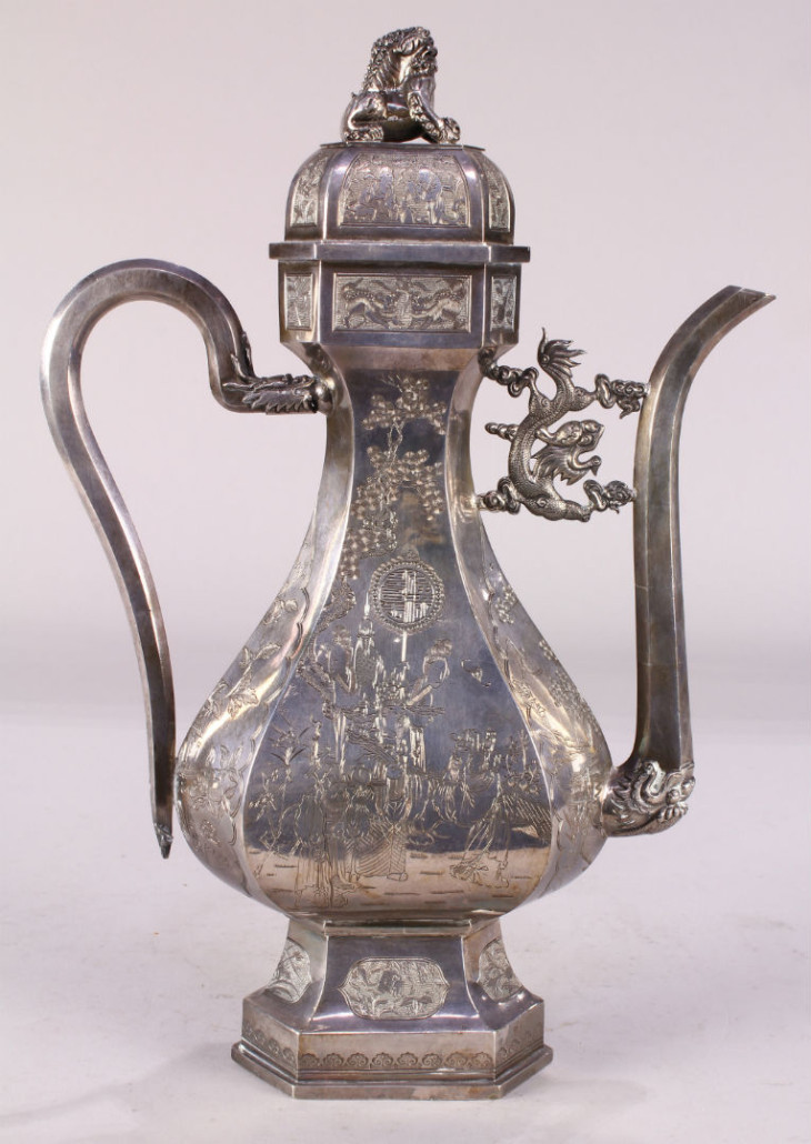 This Chinese Export silver teapot was estimated to sell for $400-$600, but fetched an astonishing $27,830. Clars Auction Gallery image