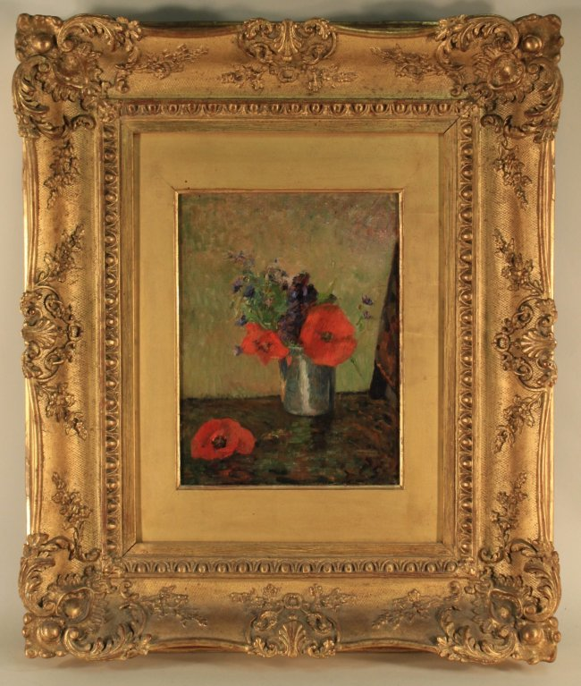 In its frame, Paul Gauguin (French, 1848-1903), Fleurs D'Ete Dans Un Gobelet, 1885, oil on canvas, 13 x 9¾ inches (sight), initialed at lower right 'PG,' shown in Gauguin catalogue raisonee, authenticated by Wildenstein Institute, est. $800,000-$1.2 million