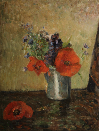 Paul Gauguin (French, 1848-1903), Fleurs D'Ete Dans Un Gobelet, 1885, oil on canvas, 13 x 9¾ inches (sight), initialed at lower right 'PG,' shown in Gauguin catalogue raisonee, authenticated by Wildenstein Institute, est. $800,000-$1.2 million