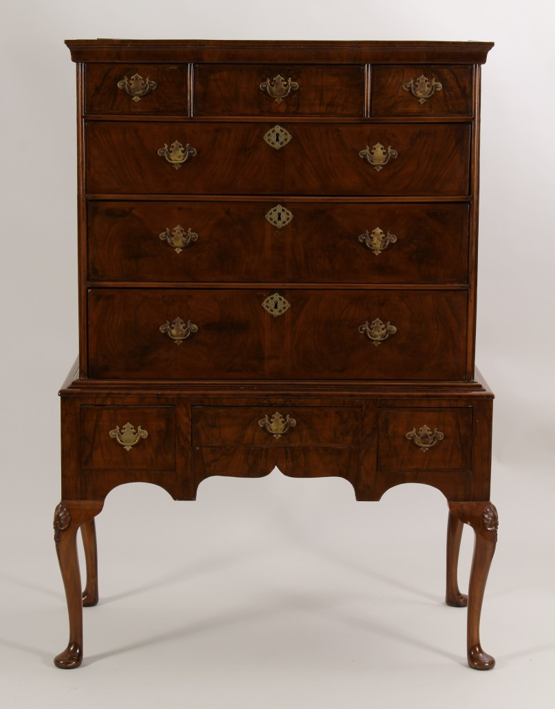18th-century Queen Anne highboy, mahogany and walnut, est. $2,000-$4,000