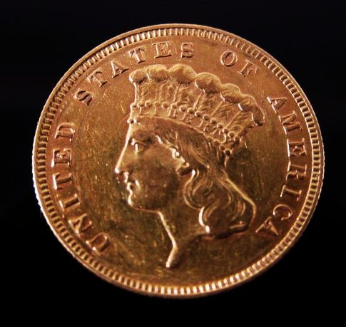 Scarce 1874 $3 Princess Head gold coin. Estimate: $500-$700. Auctions Neapolitan image