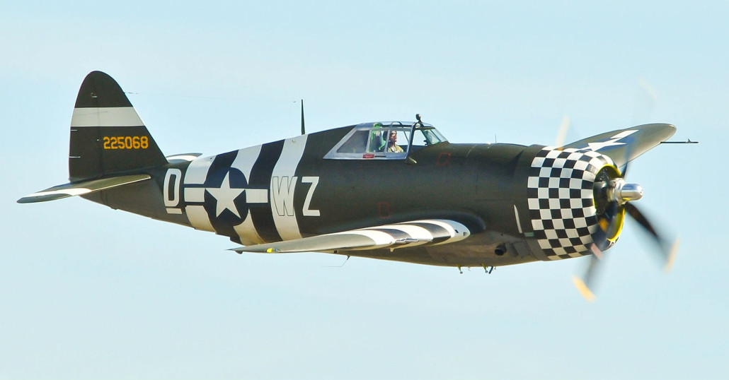 A P-47 Thunderbolt 42-25068 at the Duxford Air Show in 2012. John 5199 image. This file is licensed under the Creative Commons Attribution 2.0 Generic license.