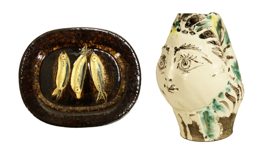 "Picasso pottery: (left) 1948 ""Three Sardines"" rectangular dish, est. $8,000-$12,000; and 1954 pitcher in the form of a woman's head crowned with flowers, $10,000-$15,000"