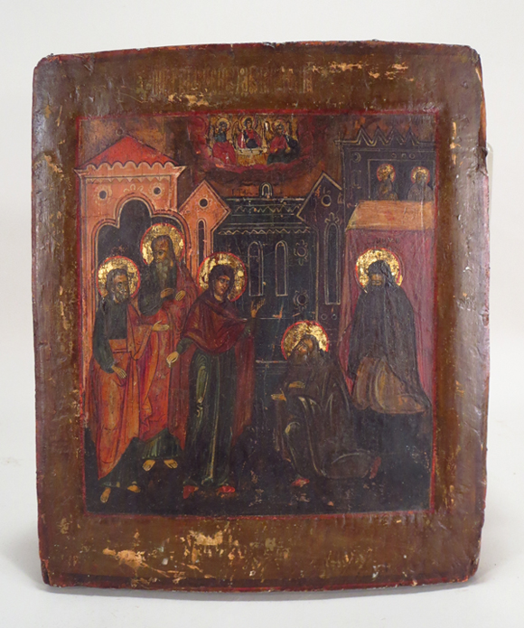 Russian icon of Christ in the temple in Jerusalem with three archangels in clouds above, est. $2,000-$3,000