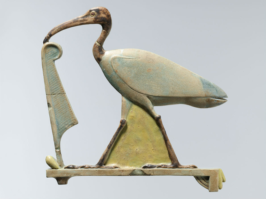 Inlay depicting Thoth as the ibis with a maat feather. Late Period-Ptolemaic Period (4th century B.C.). Probably Hermopolis. Faience. Purchase, Edward S. Harkness Gift, 1926 (26.7.992)