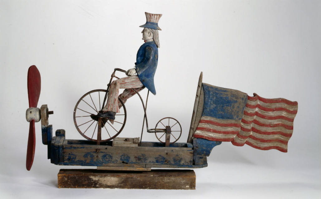 Uncle Sam Riding a Bicycle whirligig. Crystal Bridges Museum of American Art image