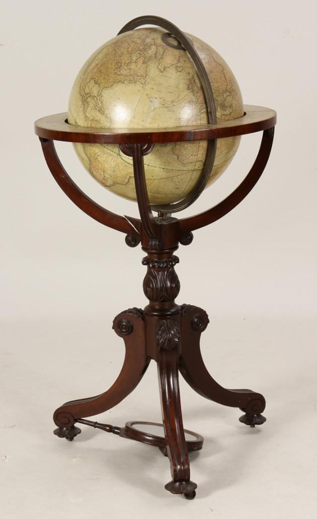 Victorian papier-mache terrestrial globe, London, 1842, est. $1,500-$2,500