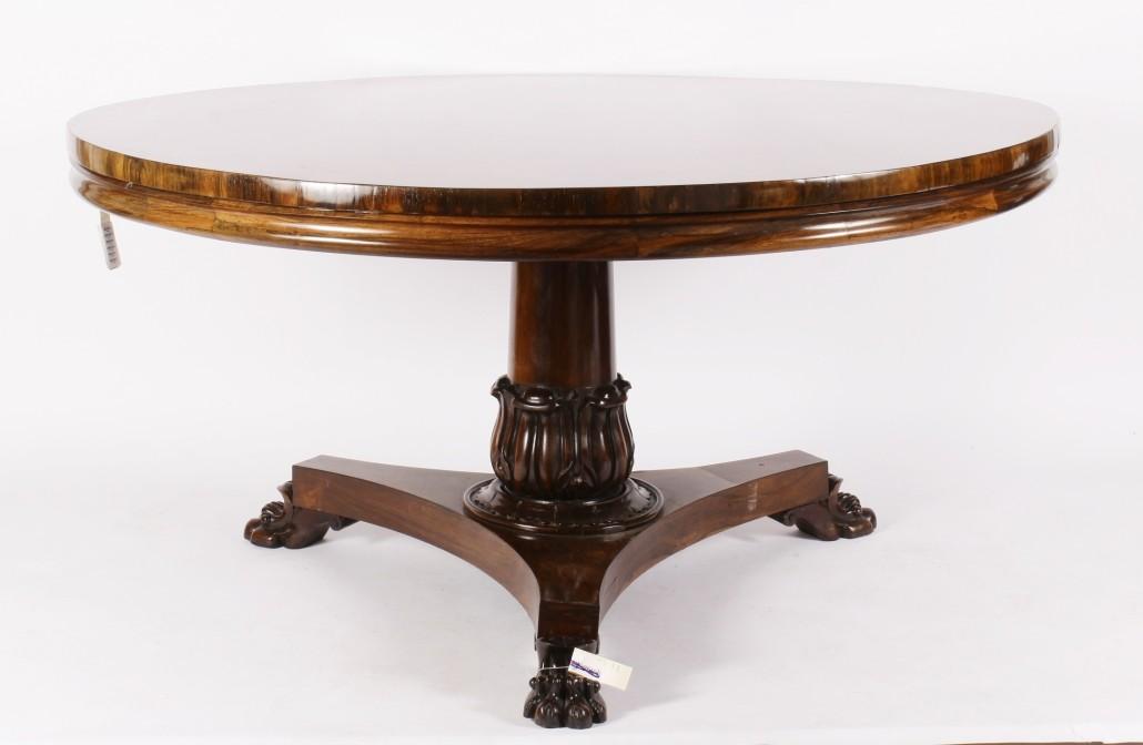 19th-century Regency rosewood tilt-top breakfront table, est. $1,500-$2,500