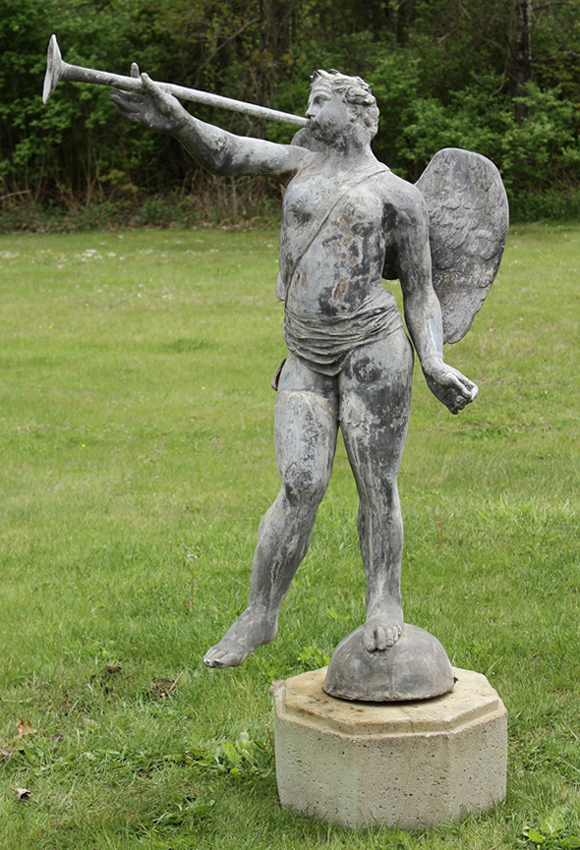 Life-size cast-lead garden statue of Angel Gabriel with horn, on marble plinth, est. $1,500-$2,500