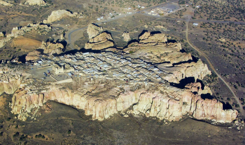 Aerial view of Acoma Pueblo Sky City in New Mexico. Marshall Henrie image. This file is licensed under the Creative Commons Attribution-Share Alike 3.0 Unported license.