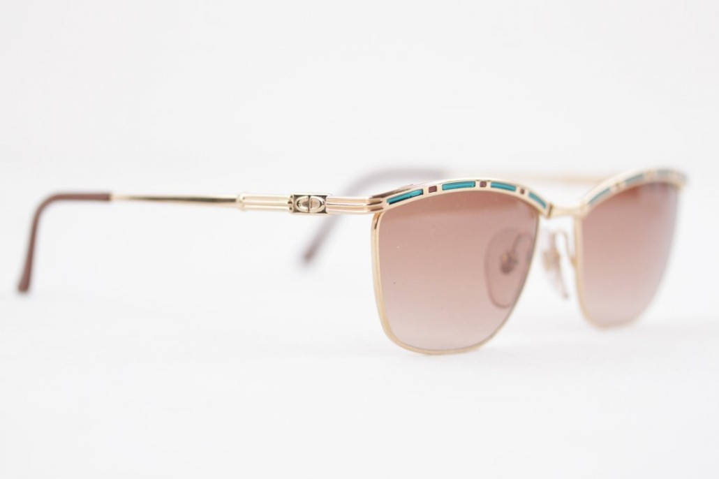 3844bc33185 Christian Dior vintage gold metal sunglasses
