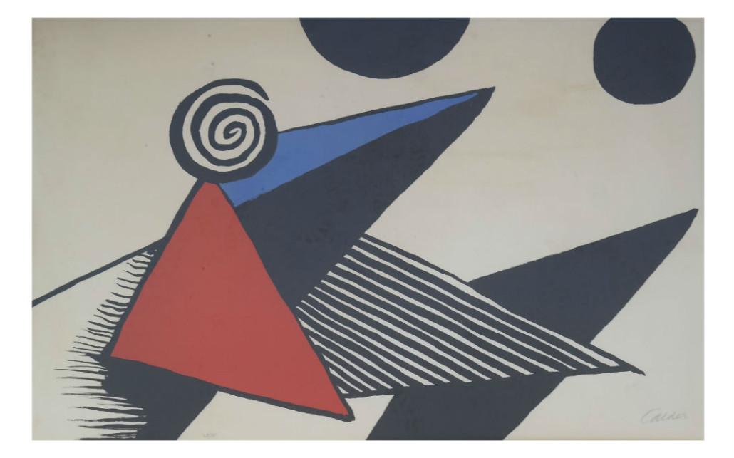 Lot 265 - Alexander Calder 'Bonnet Phyrgien et Barres de Feu' lithograph. Estimate: $3,000-$4,000. Roland Auctions NY image