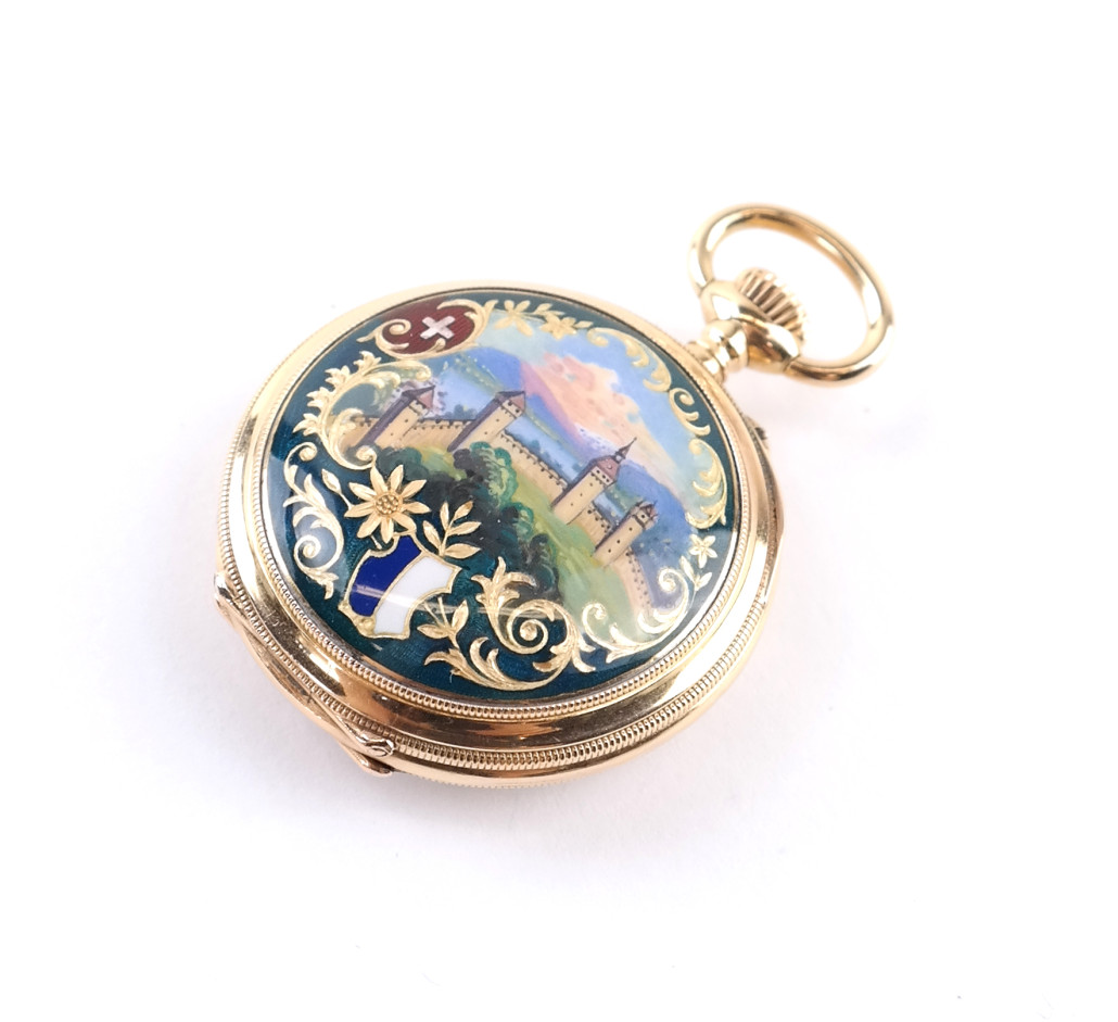 Lot 519 - Vacheron & Constantin gold and guilloche enamel pocket watch. Estimate: $1,200-$1,800. Roland Auctions NY image