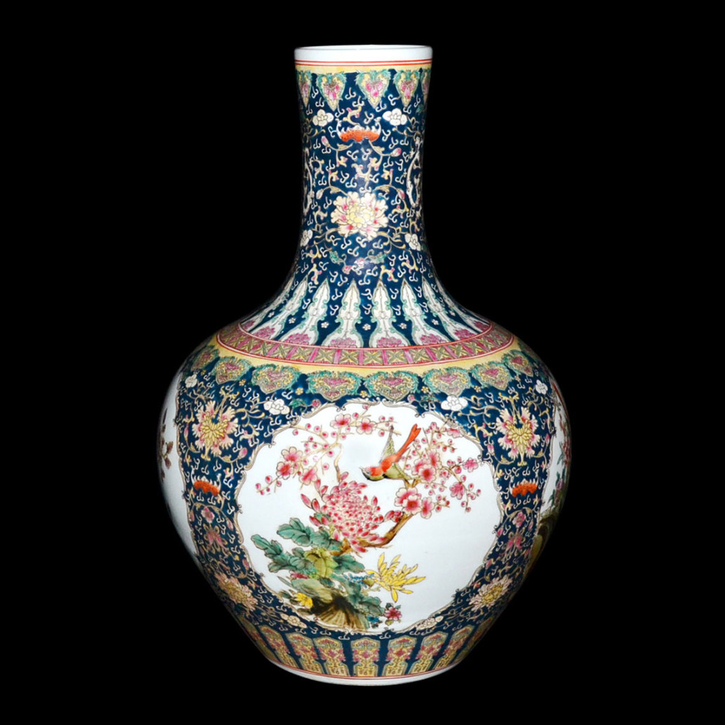 Qing Dynasty Famille rose vase with tian bai panels of prunus, peonies, chrysanthemum, phoenix and birds. Authenticated by a blue reign mark and Qianlong six-character mark. Est. $1,500,000 to $2,000,000