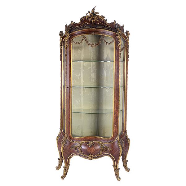Important Louis XV-style gilt bronze mounted tulipwood vitrine cabinet, est. $40,000-$60,000