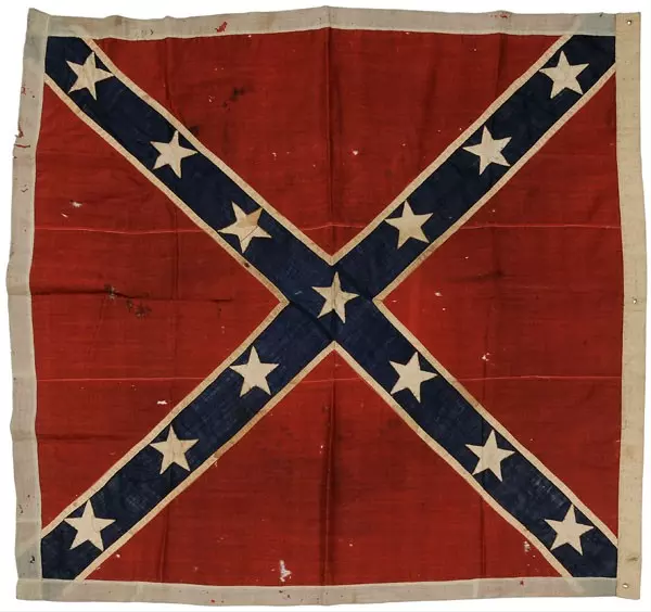 Rare Confederate Army of Northern Virginia Battle Flag, circa 1861. Image courtesy of LiveAuctioneers.com and Brunk Auctions