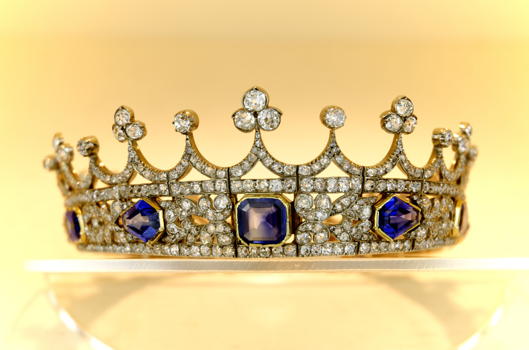 Queen Victoria's sapphire and diamond coronet. Image courtes of the Department for Culture, Media & Sport
