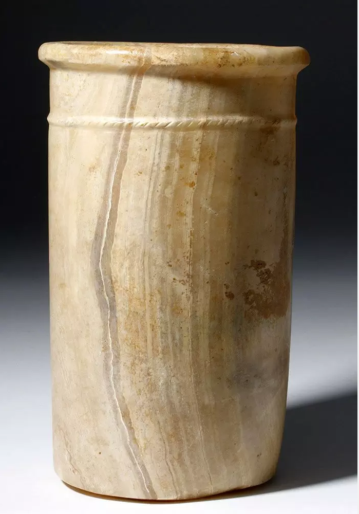 Egyptian alabaster stone vessel, Early Dynastic Period, circa 3100-2686 BCE, 9.75 inches high, est. $6,000-$12,000