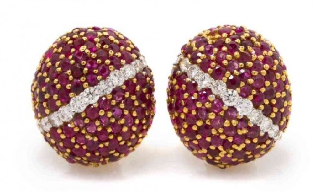 Custom-made ruby and diamond earrings, identical style to a pair of Cartier earrings that sold for more than $30,000. Estimate: $5,000-$10,000. Connoisseur Auctions image
