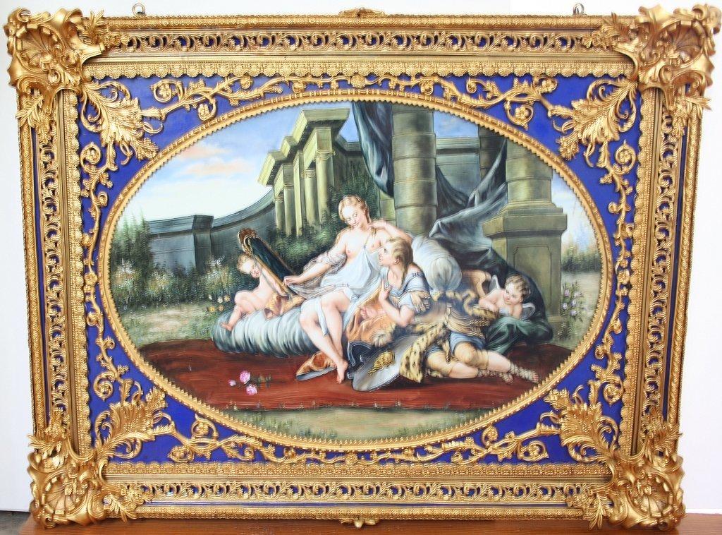 Hand-painted porcelain rendition of Boucher's 'Moment of Love, Rinaldo and Armida.' Estimate: $6,000-$8,000. Connoisseur Auctions image