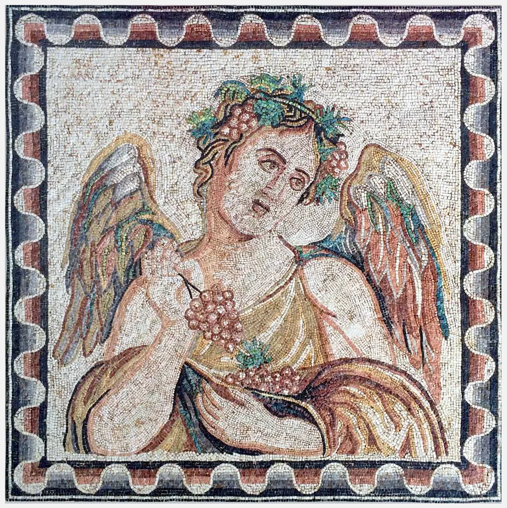 Ancient Roman mosaic panel representing 'autumn' from the four seasons series, 59 by 60 inches, circa 2nd/3rd century CE, est. $75,000-$85,000