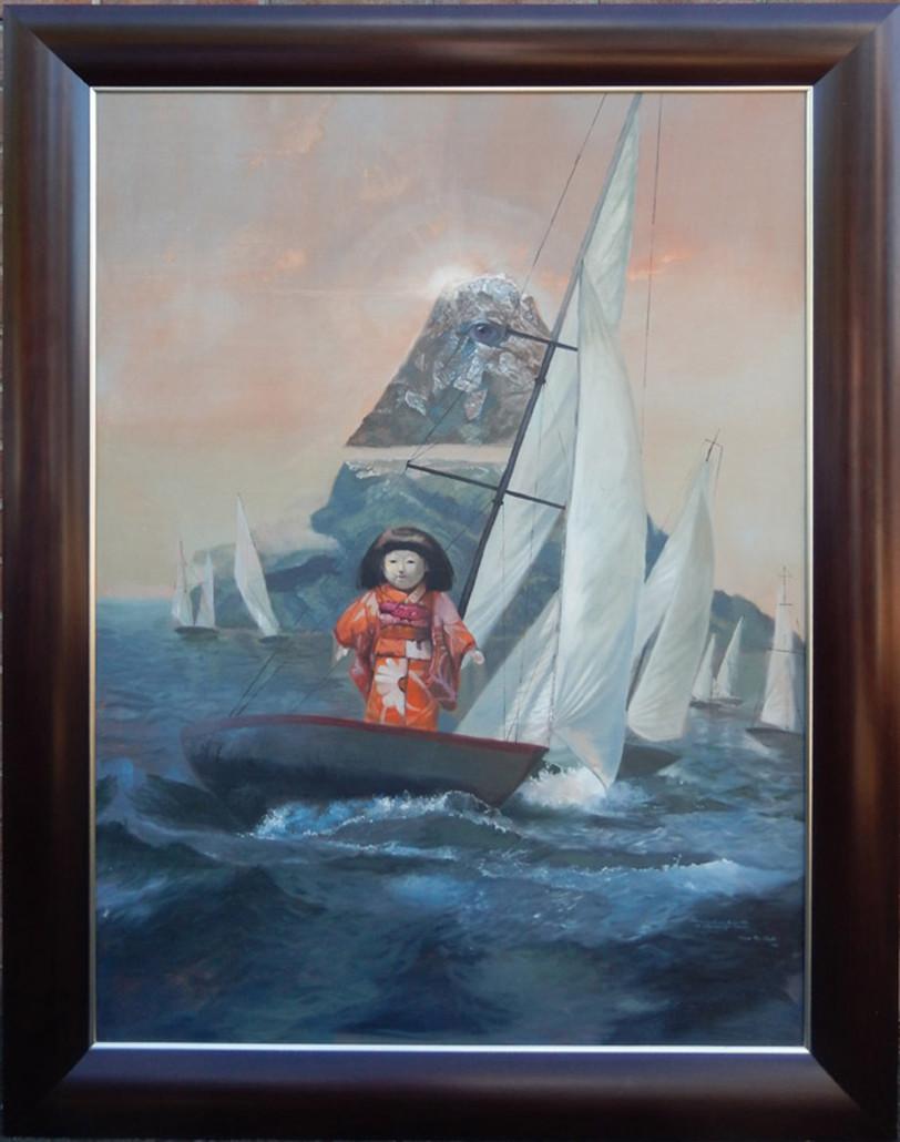 Lance Lauffer (active in Philadelphia, d. 1988) surreal seascape, oil on canvas, from a Miami Beach estate, est. $1,000-$3,000