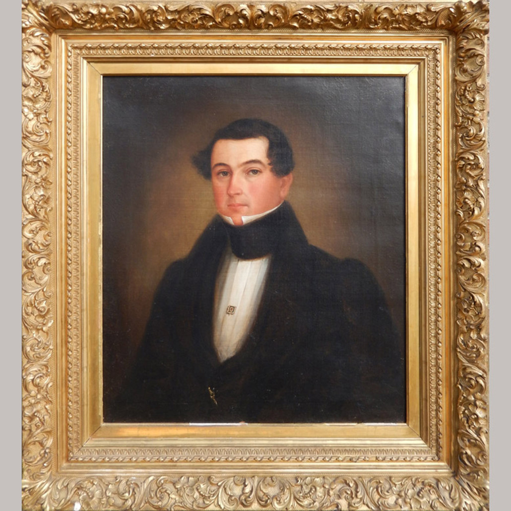 American school oil portrait of a gentleman, late 18th/early 19th century, 30 x 24½ (sight), est. $1,000-$2,000