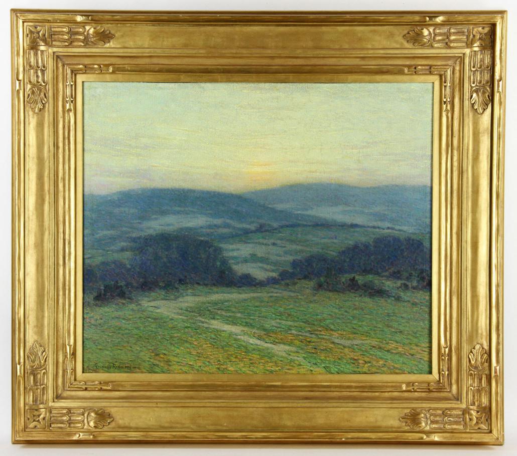 Granville Seymour Redmond, California sunset scene, oil on canvas, est. $40,000-$60,000