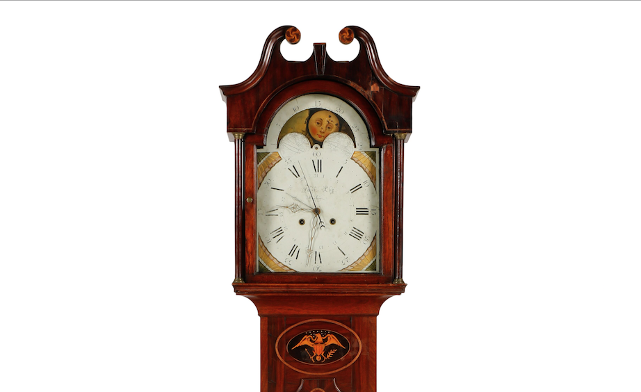 Handsome early 19th-century mahogany tall-case clock made by Jacob Eby (1776-1828) of Manheim, Pa., $10,620