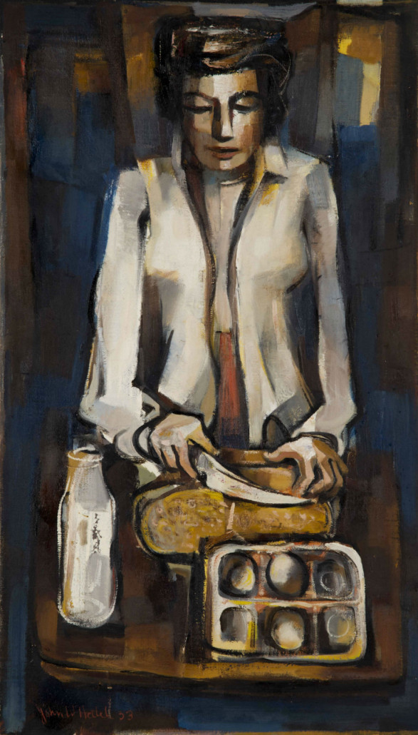 Oil on canvas painting by John W. Hatch, 'Daily Bread,' 26 inches by 15 inches. John McInnis Auctioneers image