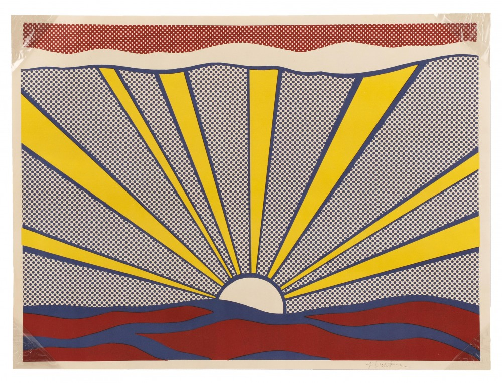 Colorful pencil-signed lithograph printed on wove paper by pop artist Roy Lichtenstein (American, 1923-1997), titled Sunrise, $7,080