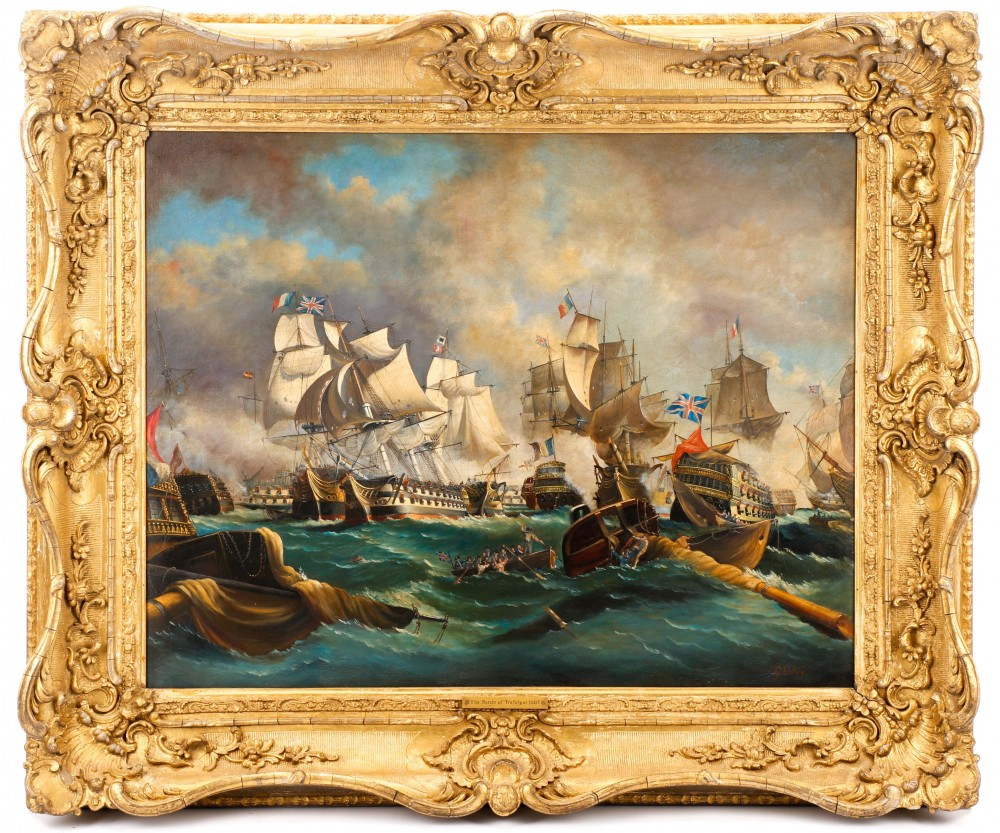 Late 19th/early 20th-century British School oil-on-canvas depiction of a naval battle scene from the Napoleonic Wars, $10,030