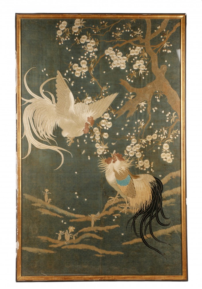 Exquisite and large Chinese School silk embroidery panel from the Qing Dynasty 19th-century or earlier), $5,310