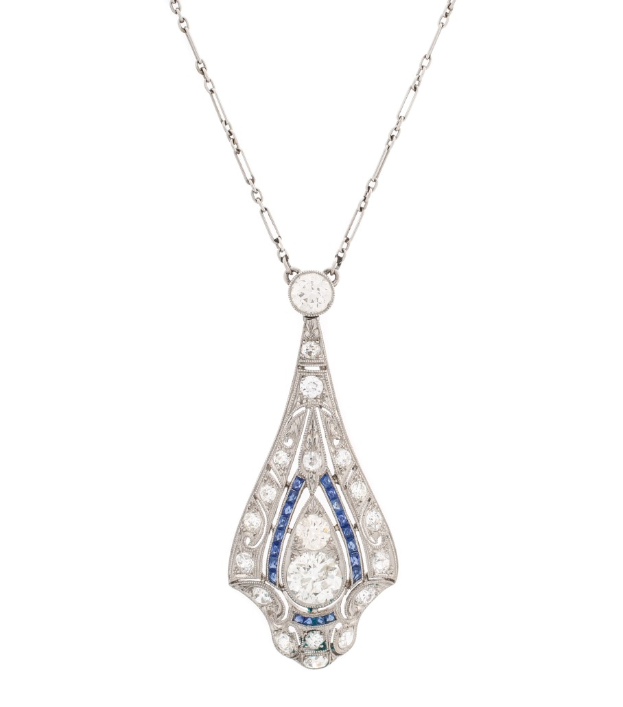 Art Deco platinum, diamond and sapphire necklace pendant with one-carat European-cut diamond and sapphire accents, $5,900