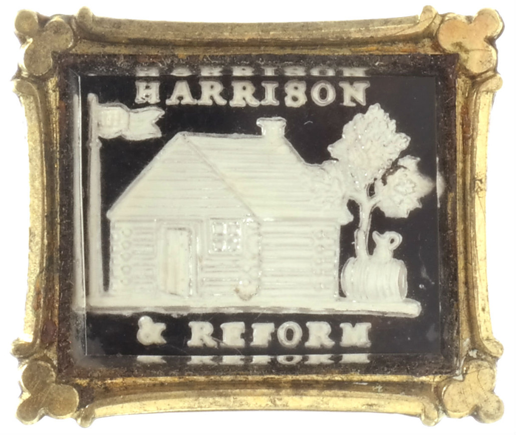 William Henry Harrison sulphide brooch. Estimate: $400-$600. Roland Auctions image