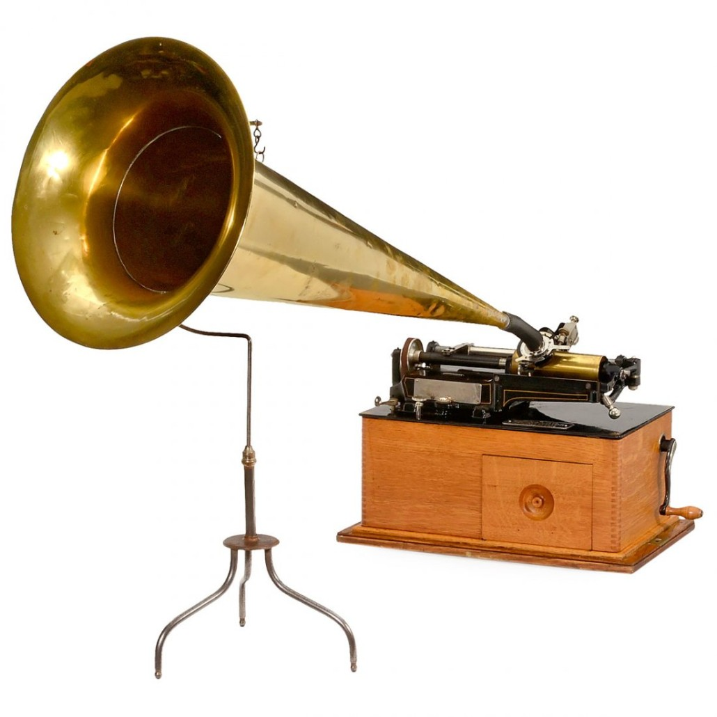 Edison cylinder phonograph, spring motor, 1895, serial no. 25086. Auction Team Breker image.