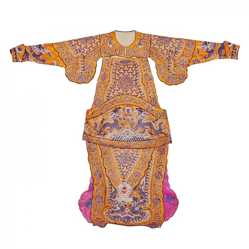 Yellow satin warrior robe, Qing. Estimate: $3,000-$4,000. Soho Arts Auction image