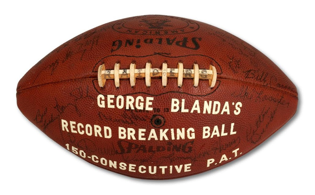 The Oakland Raiders awarded this football to Blanda for scoring a record number of consecutive point after touchdown kicks.