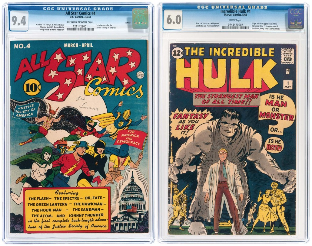 (Left) All Star Comics #4, March/April 1941, featuring the first adventure for the Justice Society of America, NM, Larson pedigree; and (right) Incredible Hulk #1, with first appearance of Hulk. Each is estimated at $10,000-$20,000. Image courtesy of Hake's Americana