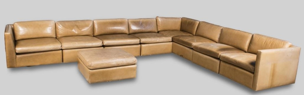 Knoll Nine Piece Leather Sectional Sofa With Matching Ottoman Sold For 4 612 50 Capo Auction