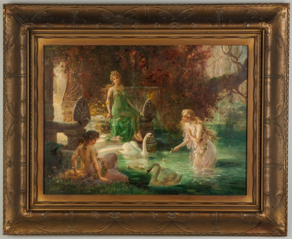 Signed oil on canvas painting by Hans Zatzka (Austrian, 1858-1945), titled 'Three Women Near Pool Feeding Swans,' 23 inches by 31 inches. Price realized: $28,900. Cottone Auctions image