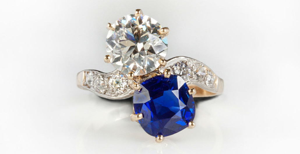 The top lot of the auction was this dazzling Kashmir sapphire and diamond ring in a platinum and gold setting, which sold for $103,500. Cottone Auctions image
