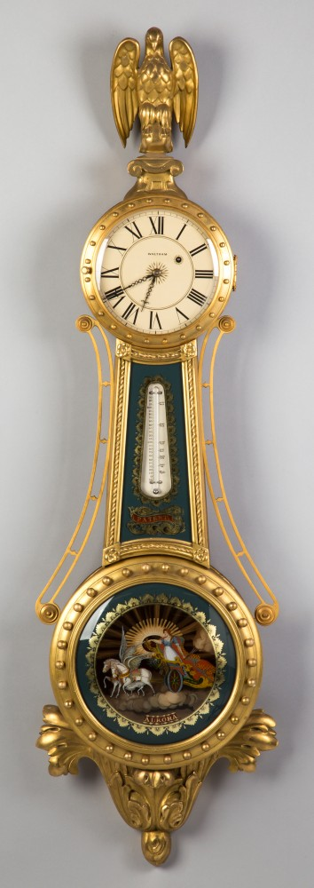 Waltham gilt front banjo girandole clock, with original signed and painted dial and original reverse-painted Aurora glass and thermometer. Price realized: $28,750. Cottone Auctions image