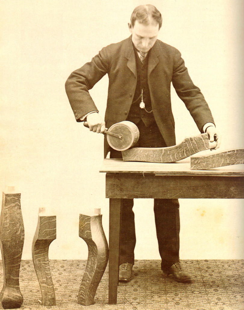 In 1885 A. Harry Sherwood of Grand Rapids developed a method of rolling oak looking grain patterns onto cheaper secondary woods to simulate quartersawn oak. Photo courtesy of 'Grand Rapids Furniture – The Story of America's Furniture City' by Christian Carron.