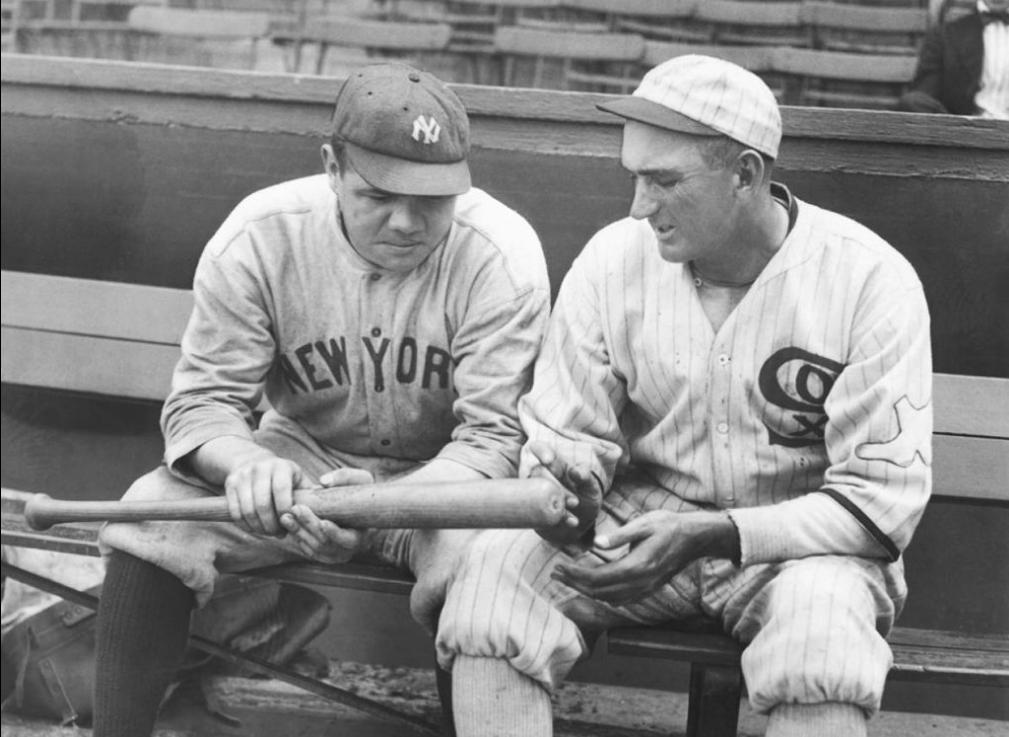 61f0df9e6 1920 photo of 'Shoeless' Joe Jackson (right) with Babe Ruth, examining